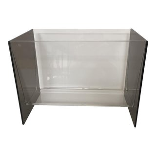 Clear & Smoky Grey Lucite Magazine Holder For Sale