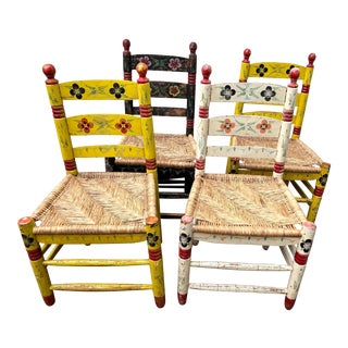 Vintage Floral Hand-Painted Pennsylvania Dutch Style Chairs - Set of 4 For Sale