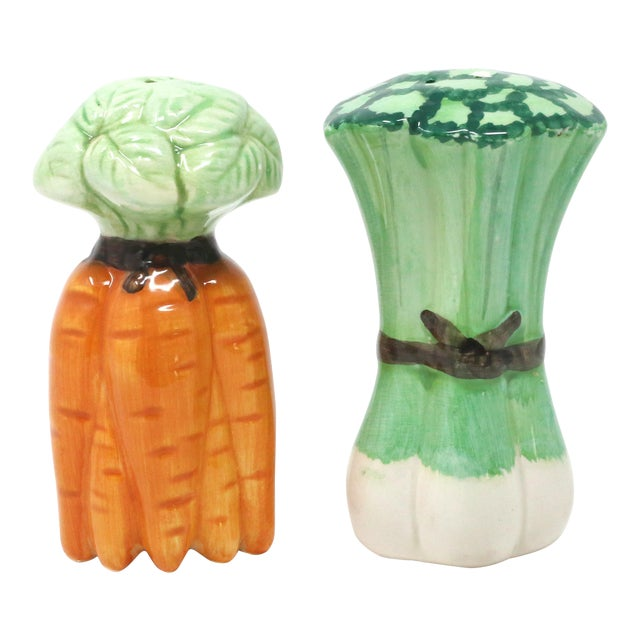 Vintage Ceramic Carrots and Leeks Salt & Pepper Shakers - Set of 2 For Sale