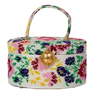 Susan Bennis Warren Edwards Floral Brocade Top Handle Bag For Sale