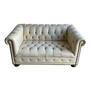 Vintage Chesterfield Cream Leather Loveseat For Sale
