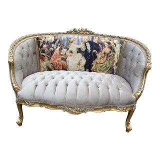 2010's French Louis XVI Style Corbeille Sofa in Gray Velvet For Sale