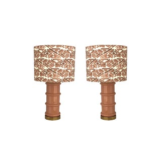 Vintage Rose Colored Lamps - a Pair For Sale