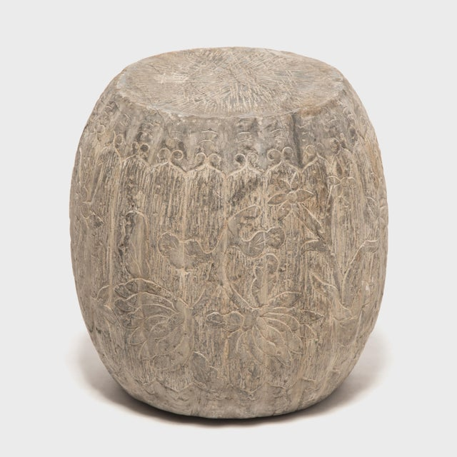 This drum form stool was hand-carved from solid limestone by an artisan in China's Shanxi province in the late 19th-...