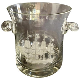 Crystal Ice Champagne Bucket With Etched Boat For Sale