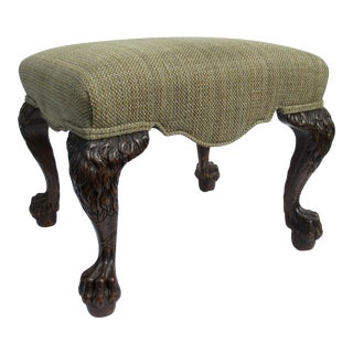 Vintage Chippendale-Style Carved & Pickled Lion Mane & Claw Footed Ottoman/Stool With Chenille Textile For Sale