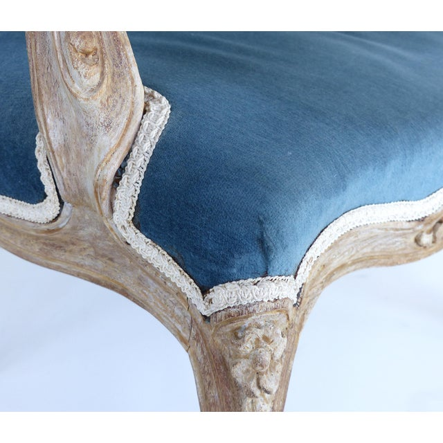 French Limed Louis XV Style Fauteuil Chairs With Velvet Mohair Seats With Trim For Sale - Image 12 of 13