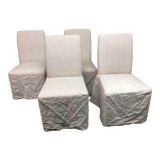 Pottery Barn Lowe Khaki Upholstered Dining Chairs & Linen Slipcovers - Set of 4