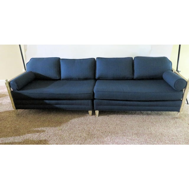 Distressed Frame Royal Blue 2 Piece Sofa For Sale - Image 9 of 9
