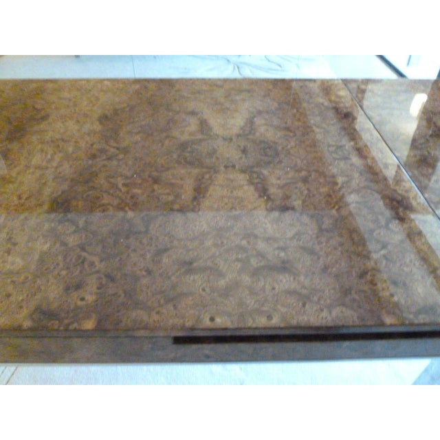 Mid-Century Modern 1970's Vintage Milo Baughman Style Burl-wood & Chrome Dining Table For Sale - Image 3 of 13