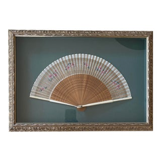 Framed Vintage Silk and Bamboo Fan For Sale