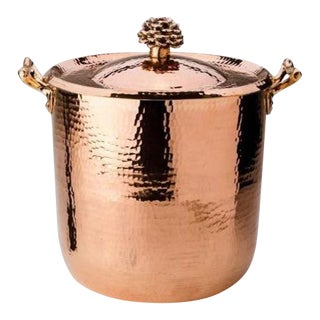 Amoretti Brothers Handmade 10 Qt Copper Stock Pot Flower Lid For Sale