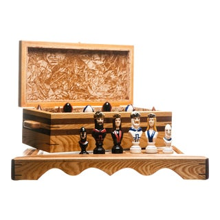 Lawrence & Scott Master Series Custom Solid Wood Chess Set With Hand-Painted Porcelain Chess Pieces For Sale