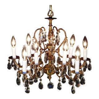 Vintage French Brass Bronze Cut Lead Crystal 5 Arm 10 Lite Chandelier For Sale