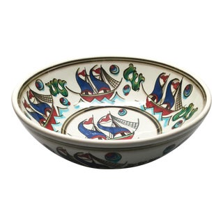 "Contemporary ""Gemi"" Hand-Painted 10"" Serving Bowl From Tamam For Sale"