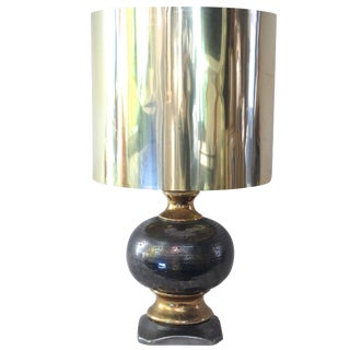 1970s French Ceramic and Silver Leaf Lamp in the Style of Maison Jensen