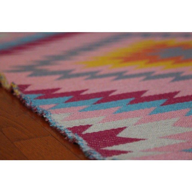 "Reversible Flat Weave Diamond Wool Kilim Rug - 5'3"" x 7'6"" - Image 6 of 8"
