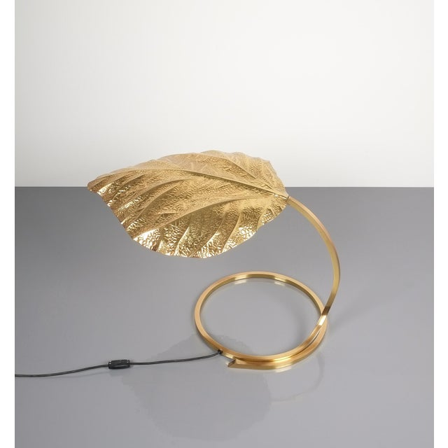 1970s Large Pair of Refurbished Brass Rhubarb Table Lamp Tommaso Barbi, Italy, 1970 For Sale - Image 5 of 9