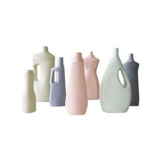 Pastel Bottle Vases - Set of 7 For Sale