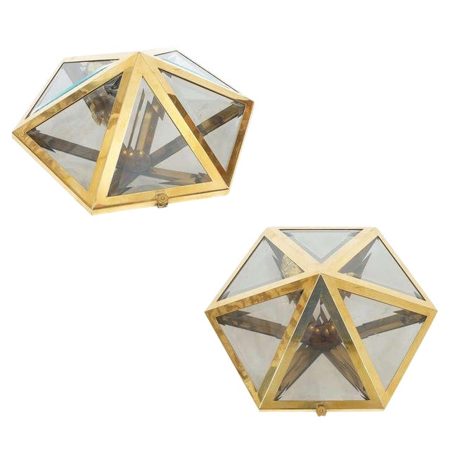 Josef Hoffmann Set of 12 Brass and Glass Pyramid Flush Mounts Wall Lamp, 1900 For Sale