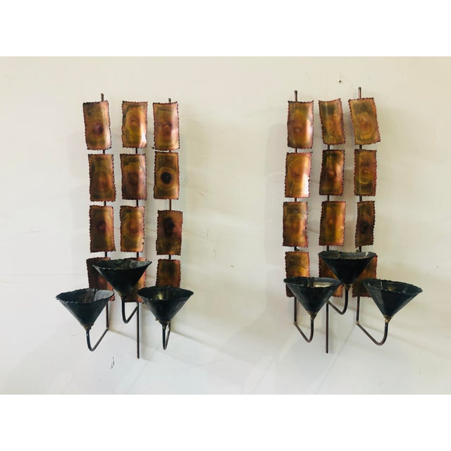 1970s Brutalist Mid Century Wall Sconces-A Pair For Sale - Image 9 of 9