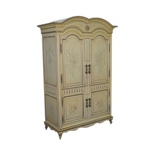 Karges Large Hand Paint Decorated Vintage Venetian Style Armoire Cabinet For Sale