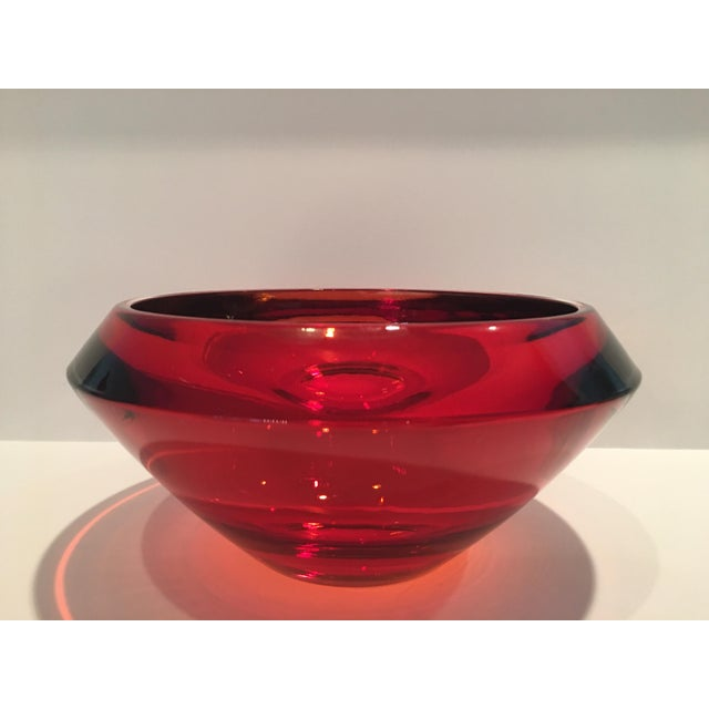 Substantial orange art glass bowl from the 1960's . Sturdy , quality decorative item . Fabulous for any decor . Believed...