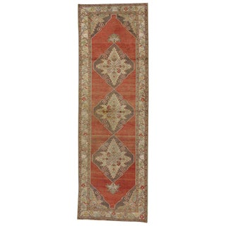 20th Century Rustic Turkish Oushak Hallway Runner - 3′6″ × 10′11″ For Sale