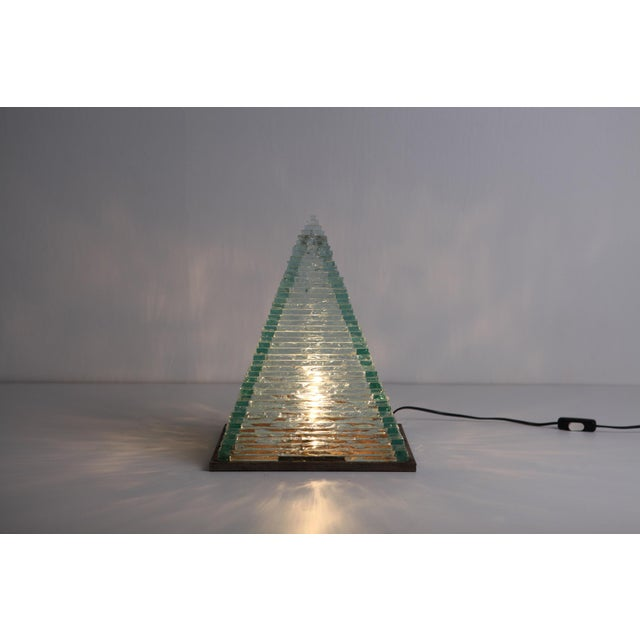1970s Pyramid Glass Lamps by Pia Manu For Sale - Image 5 of 10