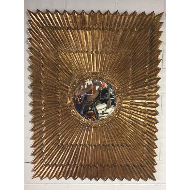 Italian 1970s Italian Large Giltwood Sunburst Mirror For Sale - Image 3 of 9