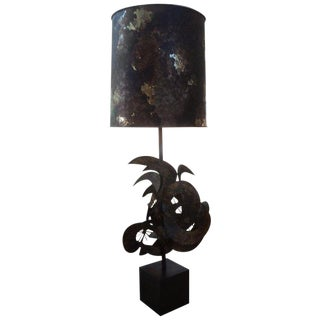 Brutalist Torch Cut Metal Lamp Attributed to Curtis Jere For Sale