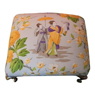 1980s Chinoiserie Upholstered Footstool For Sale