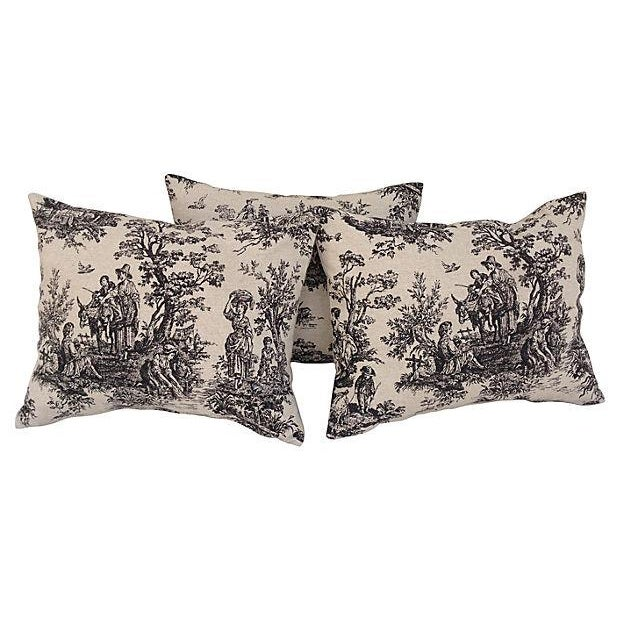 French Country Toile Pillows - Set of 3 For Sale