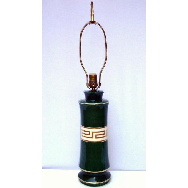 Antique Greek Key Green Gold White Ceramic Lamp - Image 8 of 11