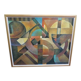 Vintage Post Modern Geometric Acrylic Paining on Canvas For Sale