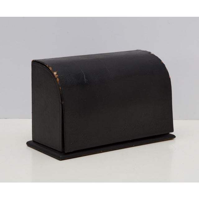 Antique Leather Desk Stationery Letter Organizer For Sale - Image 4 of 8