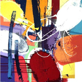"""Denmark Acrylic Painting """"Bedeck"""", Contemporary Colorful Abstract For Sale"""
