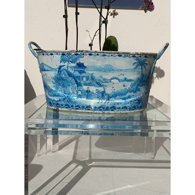 Blue Tole French Style Chinoiserie Planter For Sale - Image 11 of 11