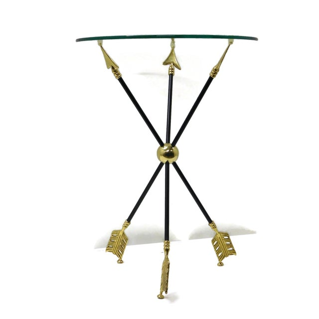 Brass Vintage Iron & Brass Arrow Bouillotte Drinks Lamp Table For Sale - Image 8 of 8