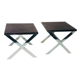 1970s X Base Bench Side Tables - a Pair For Sale