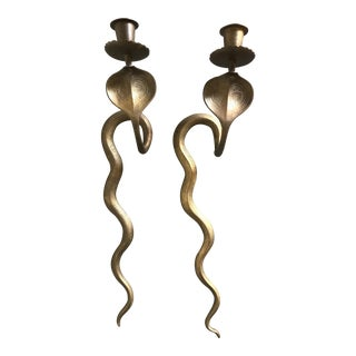 Vintage Brass Cobra Wall Sconces - a Pair