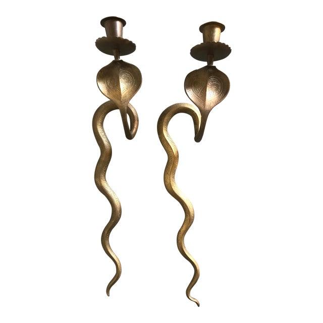 Vintage Brass Cobra Wall Sconces - a Pair For Sale
