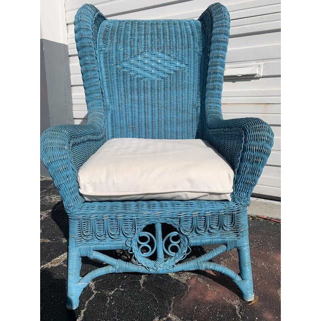 1980s Vintage Polo Ralph Lauren Wicker Chair and Ottoman For Sale - Image 5 of 13