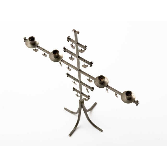 Gray Swedish 1960s Steel Hearts Candelabra For Sale - Image 8 of 10