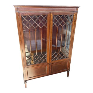 Sheraton Style Bookcase China Cabinet For Sale