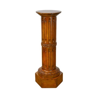 Antique 19th Century Carved Wood Column Pedestal