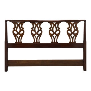 Henkel Harris Solid Mahogany Chippendale Queen Headboard For Sale