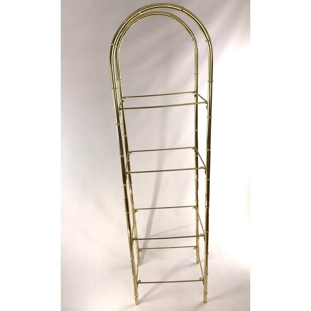 Hollywood Regency Hollywood Regency Faux Bamboo Arch Shaped Brass Etagere Frame For Sale - Image 3 of 8