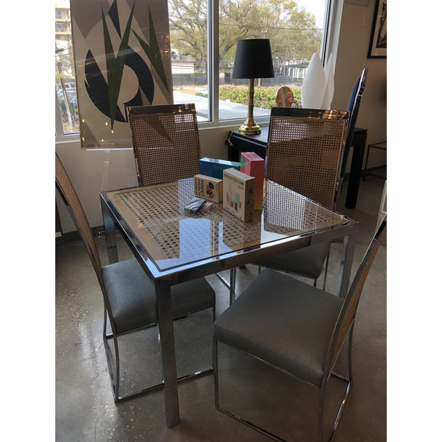 Mid Century Modern Milo Baughman Chrome, Glass and Wicker Game / Dining Table - Image 3 of 11