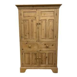 Antique English Pine Armoire For Sale